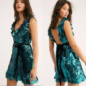 NWT Free People Spirulina Sequin Siren Mini Dress